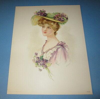 Old Vintage 1908 - Antique VICTORIAN PRINT - Lady - PURPLE VIOLETS - Flower HAT
