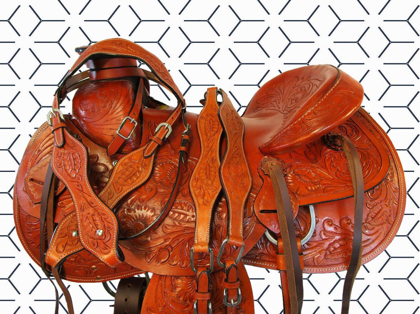 Western Floral labrada de Cuero Rancho Roper amarrar Caballo Wade Rodeo silla 16 17