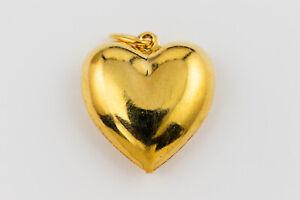 1907FN Charm Drop Puffed Heart Shiny Antiqued Silver ptd Brass 12mm 10 Qty