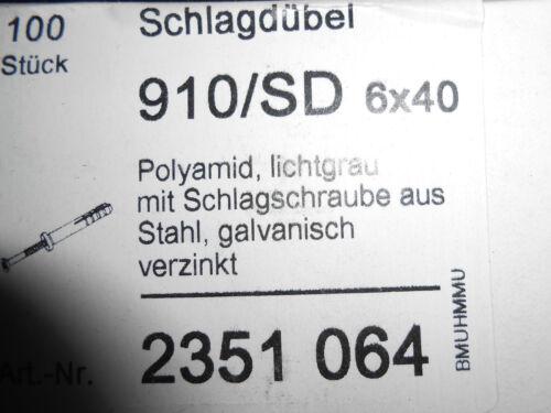 100 Stück OBO Bettermann 910 SD 6X40 Schlagdübel 6x40mm