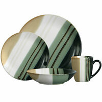 16 Or 32 Piece Monsoon Striped Green Stone Dinner Service Set Plates Bowls Mugs