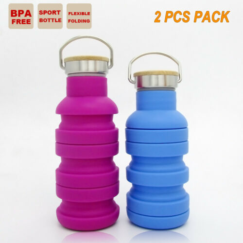 2x Collapsible Sport Water Bottle Outdoor Outback Camping Office Cup BBQ Kettle