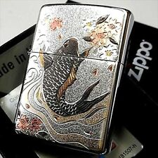 Zippo Japanese Carp Electroforming Oil Lighter Silver Brass Beautiful Japan New