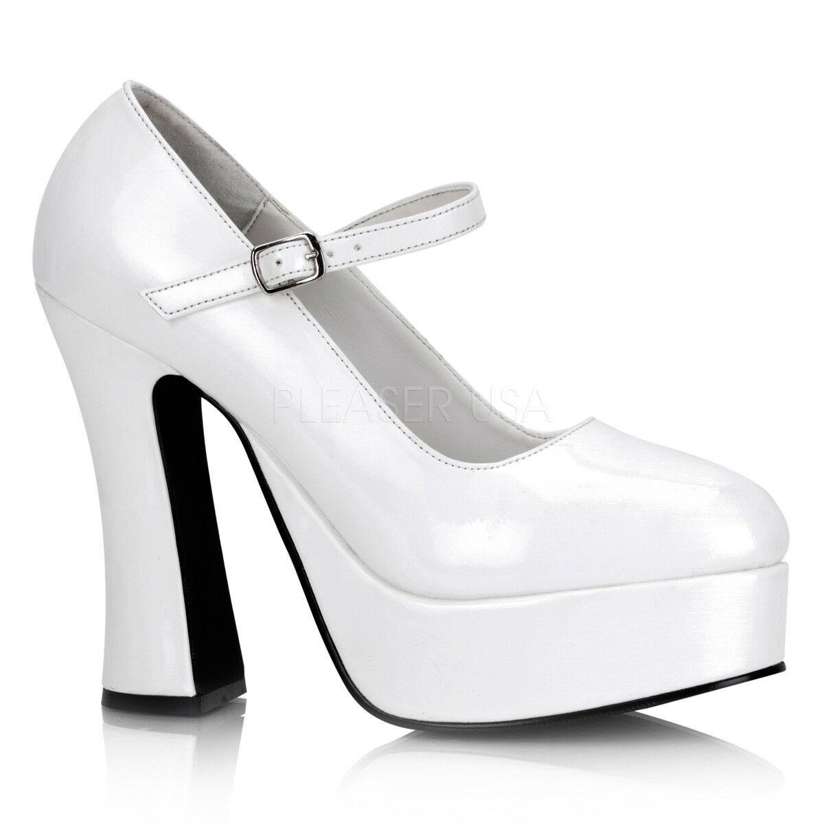 Blanc Plateforme talons Mary Janes Female Impersonator Womans Chaussures Taille 13 14 15