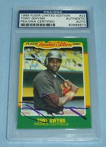 Details About Tony Gwynn Signed 1986 Fleer Limited Edition Baseball Card 22 Psadna Coa Auto