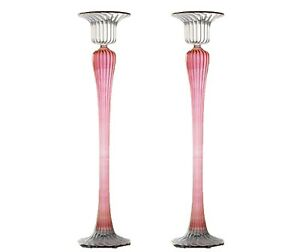 20-CM-Pair-of-Brilliant-Candle-stick-holder-Centrepiece-Tea-Light-Art-Glass-Pink