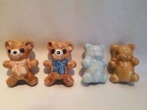Lot of 4 Vintage 1970's Hand-Painted Ceramic Teddy Bear Macrame Animal Beads