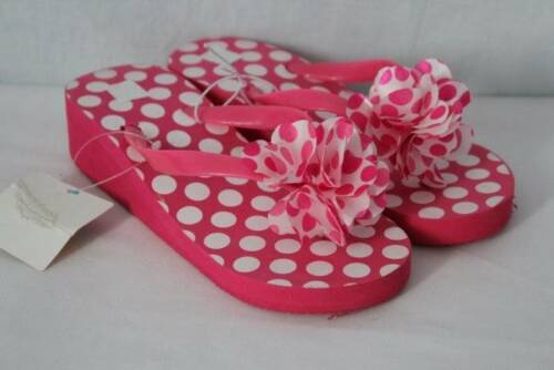 "NEW Girls Sandals Large 2-3 Pink Polka Dot 1.5/"" Wedge Flip Flops Shoes"
