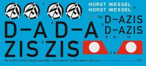 """Peddinghaus-Decals 1//72 3575 Ju 52//3m Regierungsstaffel /"""" Horst Wessel /"""" D-AZIS/"""""""
