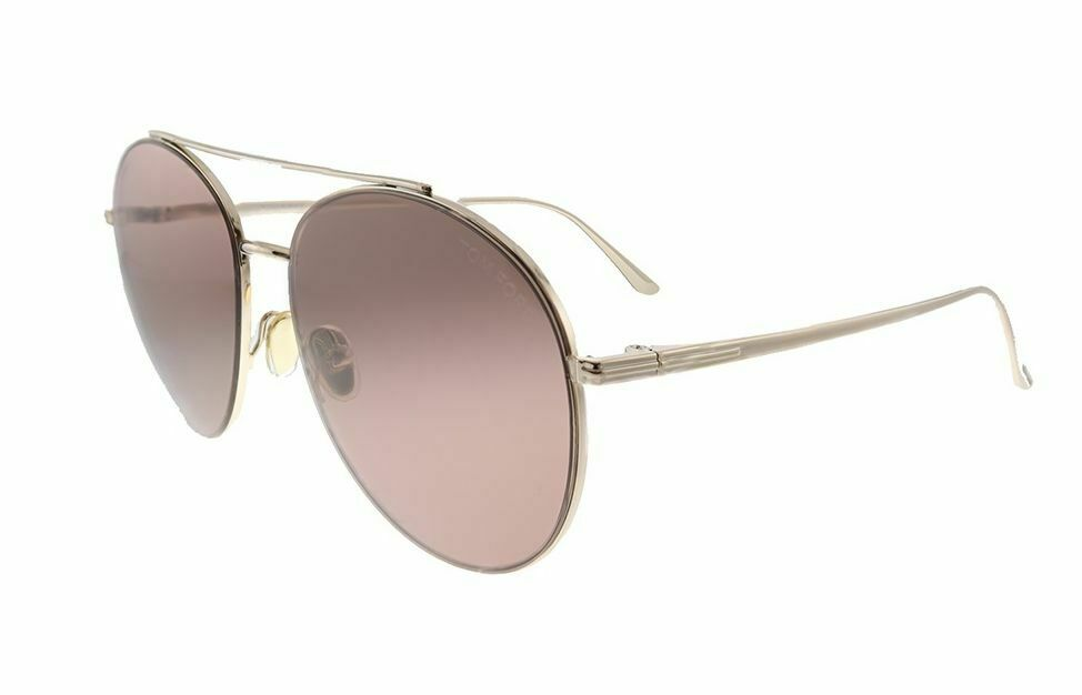 C5 NWT TOM FORD Cleo TF757 28Y Rose Gold W/Pale Pink Lens Round Sunglasses