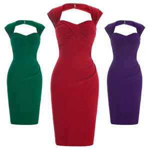 Retro-Style-1960s-50s-Housewife-Wiggle-Pencil-Evening-Party-Midi-Bodycon-Dress