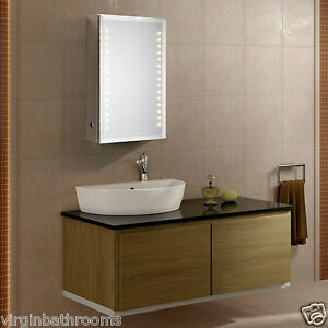 led illuminated bathroom mirror cabinet w sensor demister shaver