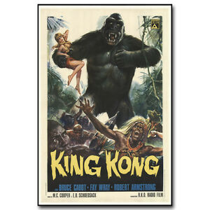 King Kong Godzilla VINTAGE HORROR MOVIE Art Silk Poster 12x18 24x36