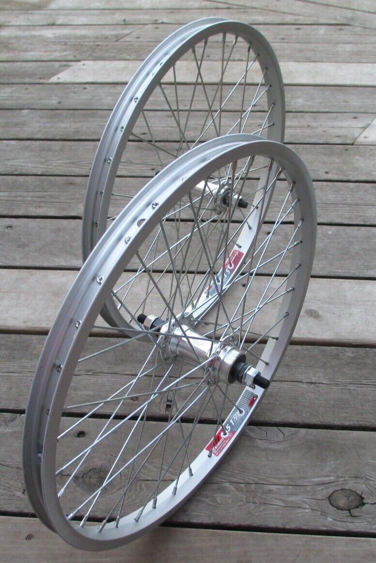 "with 1.95/"" TYRE 20/"" REAR Solid Axle BMX Bike WHEEL in SILVER 6 SPEED"