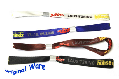 Böhse Onkelz all four Lausitzring Entry wristbands NEW Blue White Black Brown