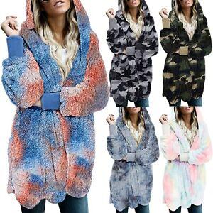 Women/'s Ladies Winter Long Teddy Bear Fleece Faux Fur Fluffy Coat Jacket Outwear