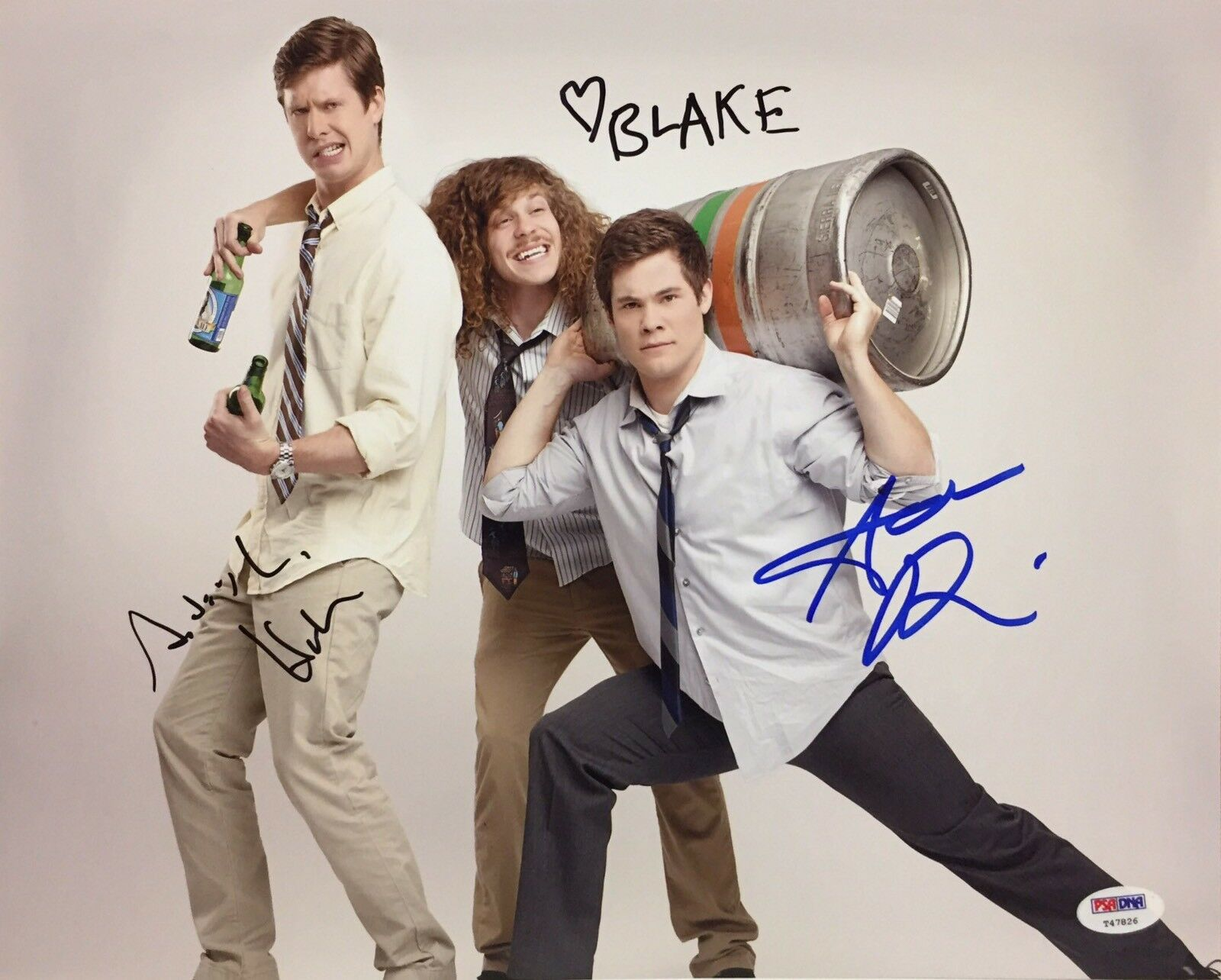 Adam Devine Blake Anderson Anders Holm Signed 'Workaholics' 11x14 Photo PSA 7826