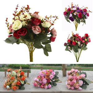 2-Bouquets-42-Head-Artifical-Rose-Silk-Flower-Bouquet-Office-Home-Wedding-Decor