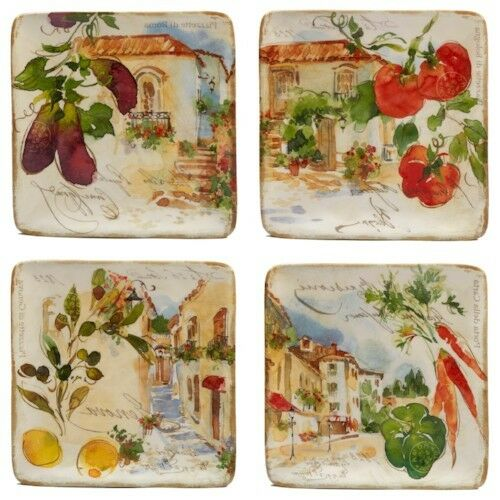 4 PC Salad Plates Set Kitchen Dining Serveware Table Counter Decor Fruit Ceramic