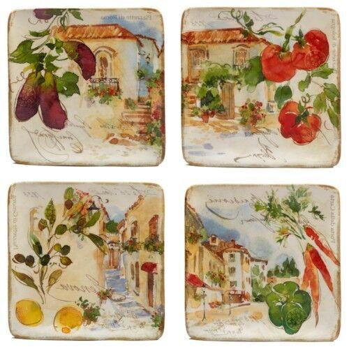 4 PC Salad Plates Set Kitchen Dining Serveware Table Counter Decor Fruit Ceramic