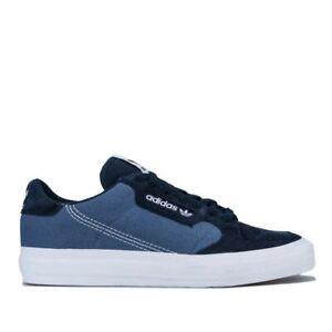 Hommes-Adidas-Originals-Continental-Vulc-Lacets-Matelasse-Baskets-En-Bleu