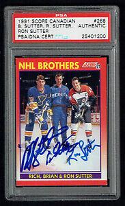 Rich-Brian-amp-Ron-Sutter-signed-autograph-1991-Score-Canadian-Card-PSA-Slabbed