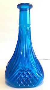 Vintage-Blue-Liquor-Decanter-Bottle-Diamond-Point-Pressed-Glass