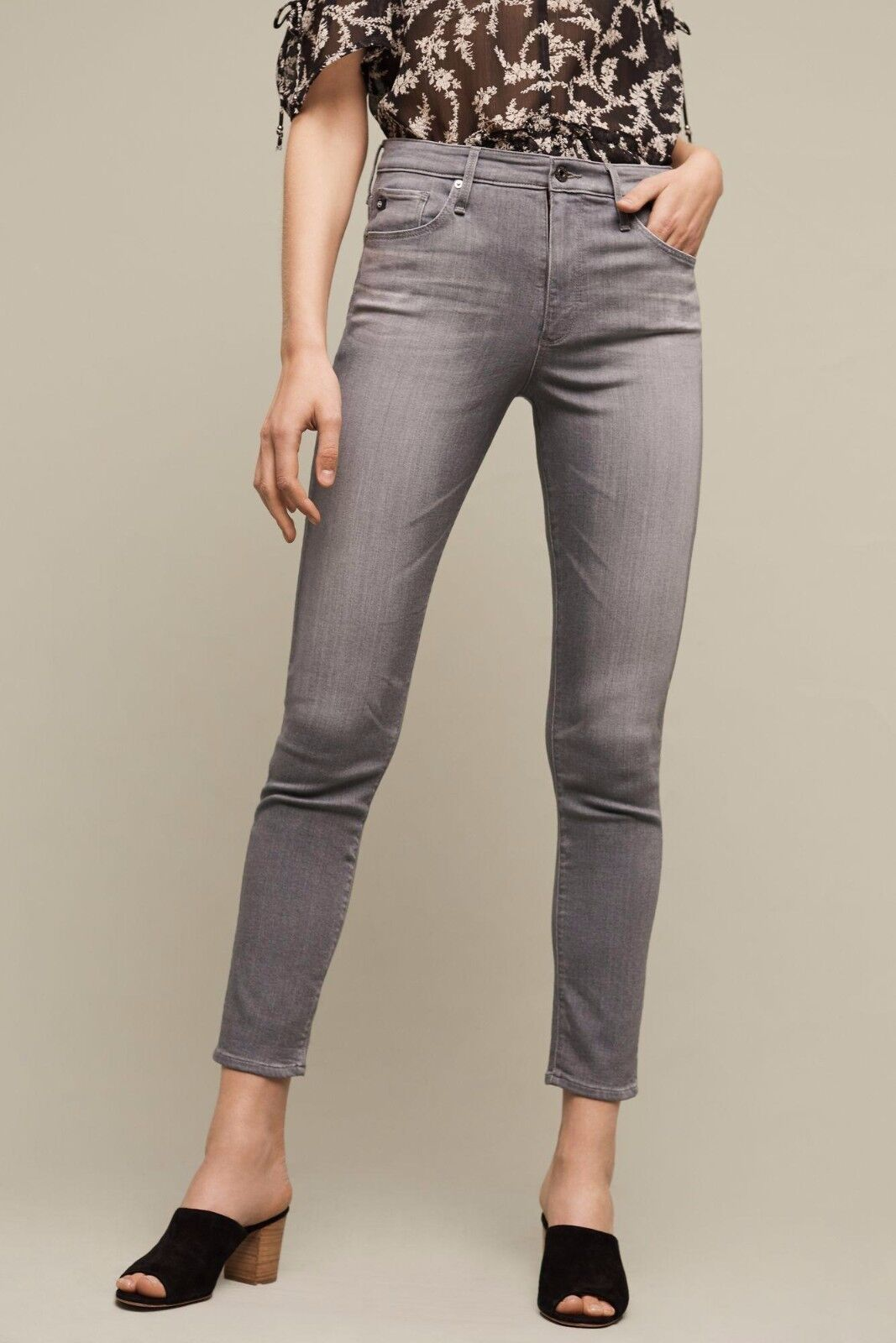 NWT AG STEVIE GHW MID-RISE SLIM STRAIGHT ANKLE JEANS 31