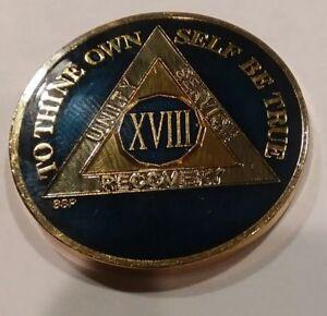 Rich Midnight Blue Enamel 15th Year XV 15 Year AA Sobriety Coin Medallion