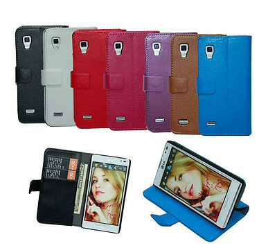 flip wallet stand Leather Case Cover for LG Optimus L9 P760 + screen protecotor