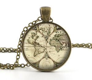 World map necklace pendant old antique atlas picture jewellery image is loading world map necklace pendant old antique atlas picture gumiabroncs Gallery