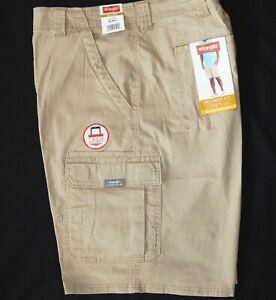 Mens-Wrangler-Flex-Cargo-Shorts-Relaxed-Fit-w-Tech-Pocket-Khaki-ALL-SIZES-34-54