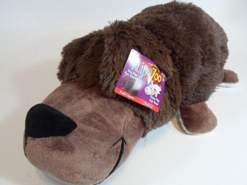 "Cat + Labrador 2-in-1 Stuffed Animal 16/"" inch FLIPAZOO Huggable Flip A Zoo"