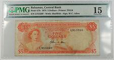 1974 Bahamas Central Bank 5 Dollars Note Pick# 37b PMG 15 Choice Fine