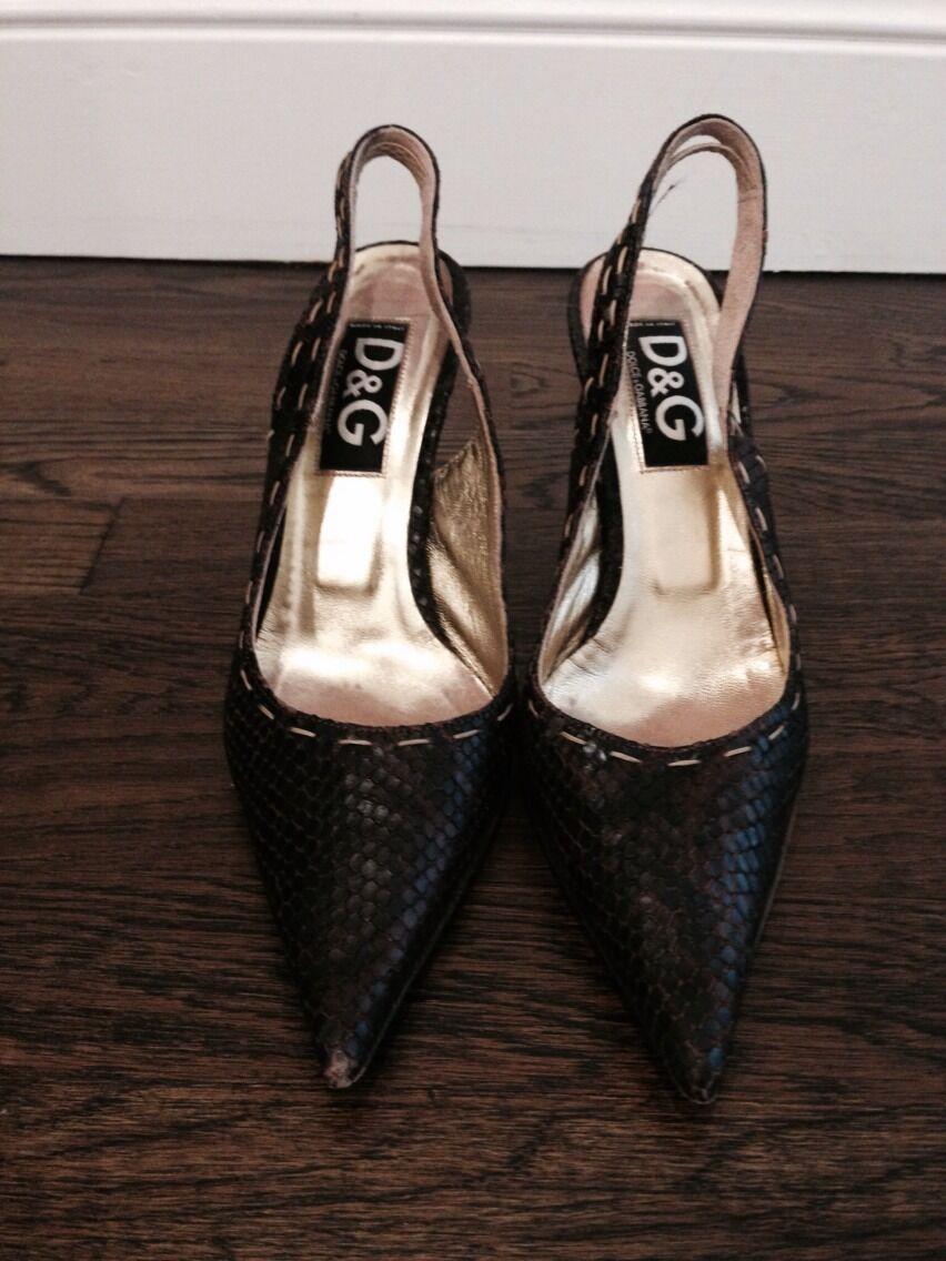 D&G Dolce & Gabbana Braun Snakeskin Pointy Toe Stilleto Schuhes Sz 37 1/2
