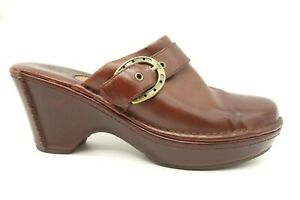 Ariat-Brown-Leather-Horseshoe-Buckle-Casual-Block-Heel-Mules-Shoes-Women-039-s-11-B