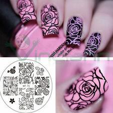 Stampo Rose Flower stampino timbro decorazione decori unghie unghia nail art
