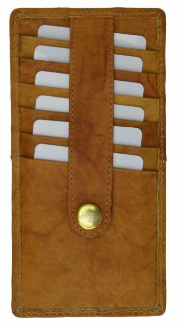 3 visa cards Slim card holder dark green veal genuine leather hand-stitched