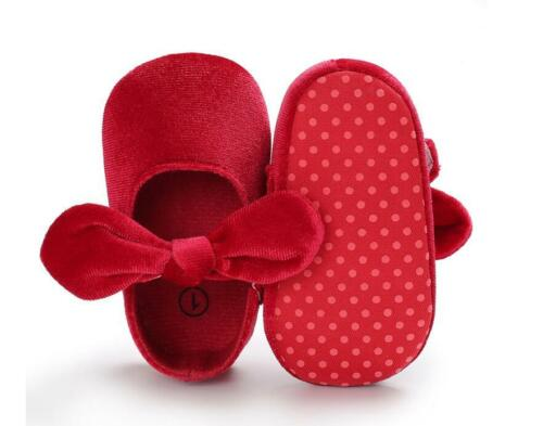 Baby Girls Crib Chaussures bébé Princesse Mary Janes Velvet Shoes 3 6 9 12 18 mois