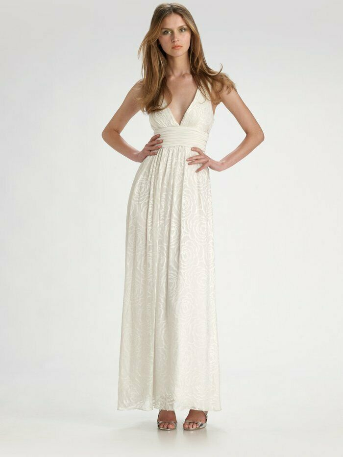 BCBG MaxAzria Weiß Floral Burnout Print Silk Vneck Vback Gown NWT B475