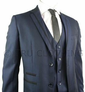 Mens-Slim-Fit-Suit-Two-Tone-Blue-Black-Trim-3-Piece-Work-Office-or-Wedding-Party