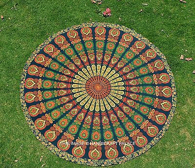 Round Indian Beach Throw Yoga Mat Rug Hippie Mandala Tapestry Wall Hanging Decor