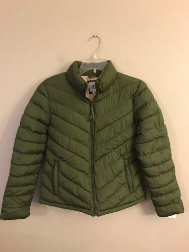 NWT GAP Women/'s Puffer Jacket SMALL Green Full Zip #94054
