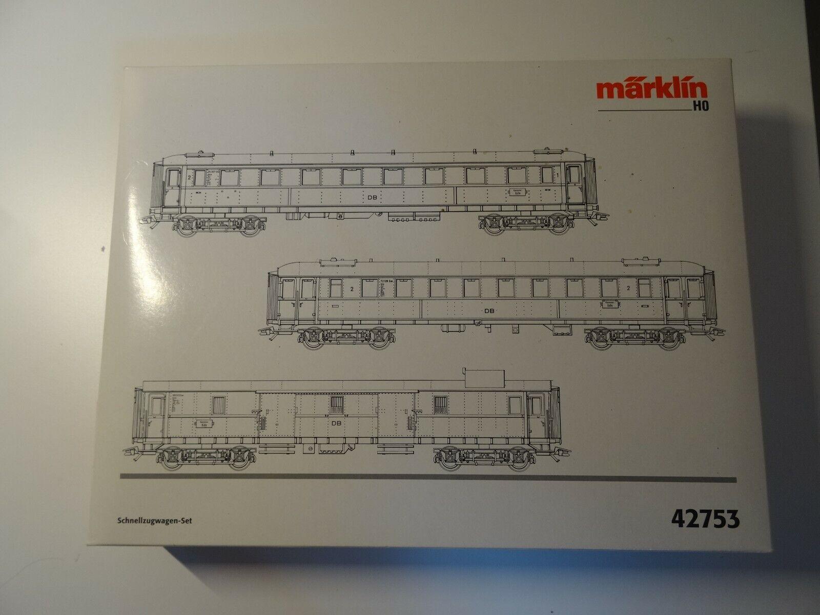 Marklin ho Art 43753 2er schnellzugwagenset de la DB Neuw embalaje original