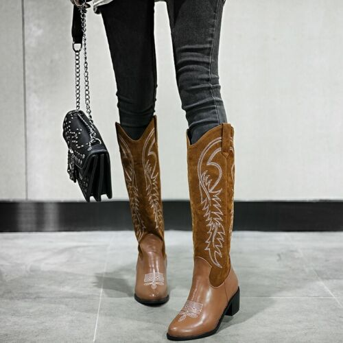 Western Womens Cowboy Round Chunky Heel Solid Punk Pull On Biker Ankle Boots L