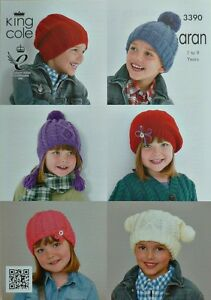 KNITTING-PATTERN-Childrens-6-Hats-Beanie-Bobble-Beret-Slouch-Aran-King-Cole-3390
