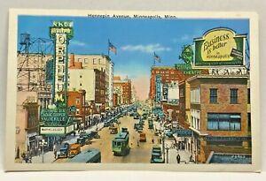 Vintage-Postcard-Hennepin-Ave-Minneapolis-Minnesota-c-1915-1930-Signs-Old-Cars