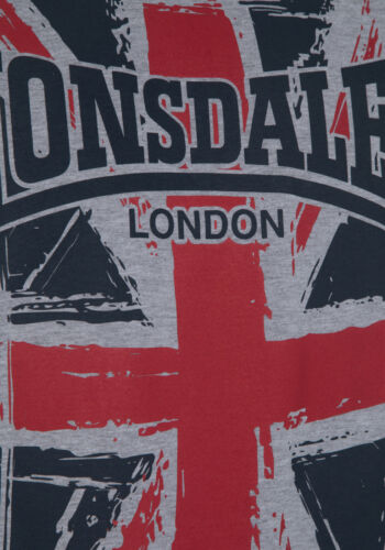 LONSDALE t-shirt Southampton Boxing Large Union Jack Logo Grey white regular fit
