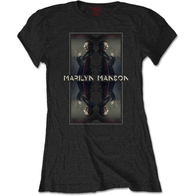 Marilyn Mason Official Ladies Womens Girls Black T Shirt Mirrored