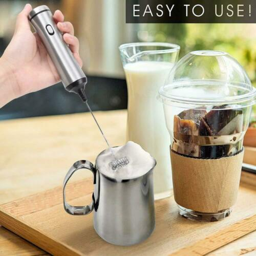 Stainless Steel Electric Milk Frother Drink Foamer Whisk Mixer Stirrer Eggbeater